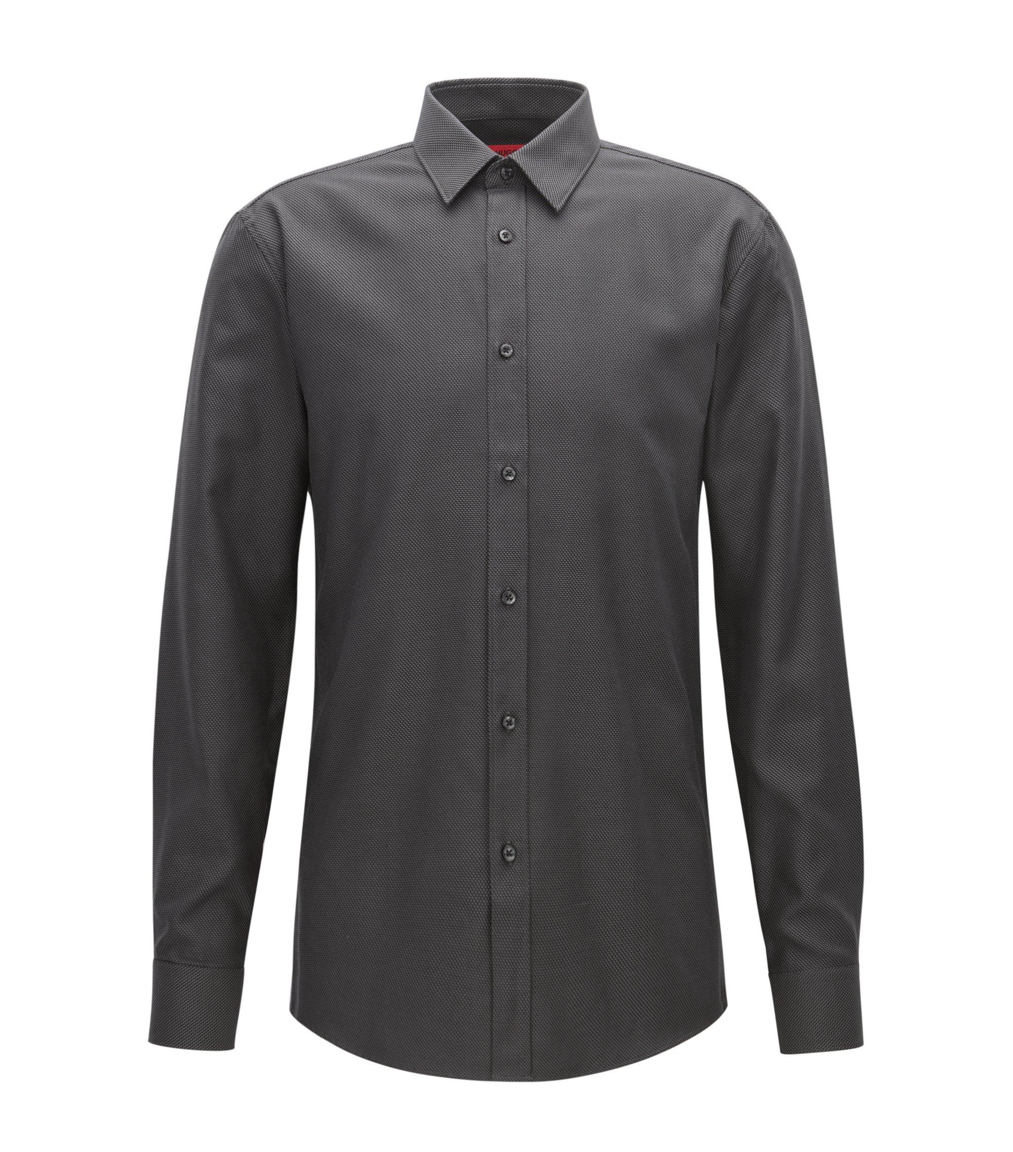 Zig Zag Cotton Button Down Shirt, Extra Slim Fit | Elisha, Black