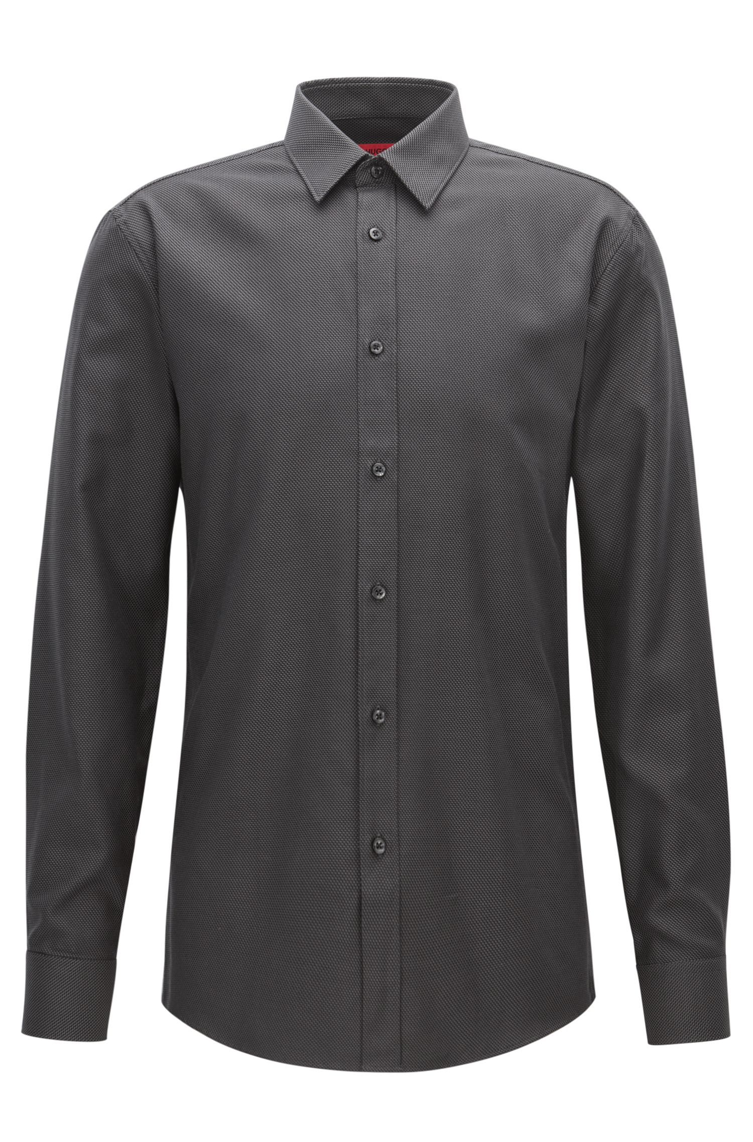 'Elisha' | Extra Slim Fit, Zig Zag Cotton Button Down Shirt