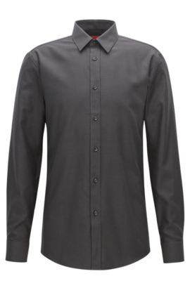 'Elisha' | Extra Slim Fit, Zig Zag Cotton Button Down Shirt, Black