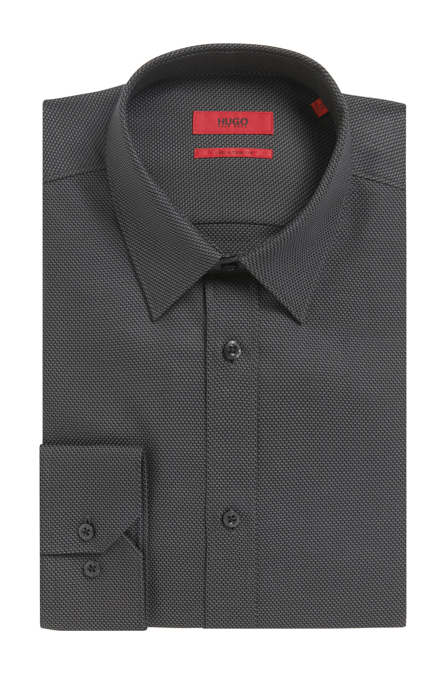 Zig Zag Cotton Button Down Shirt, Extra Slim Fit   Elisha