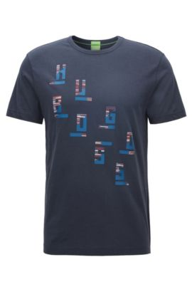 'Tee' | Cotton Graphic T-Shirt, Dark Blue