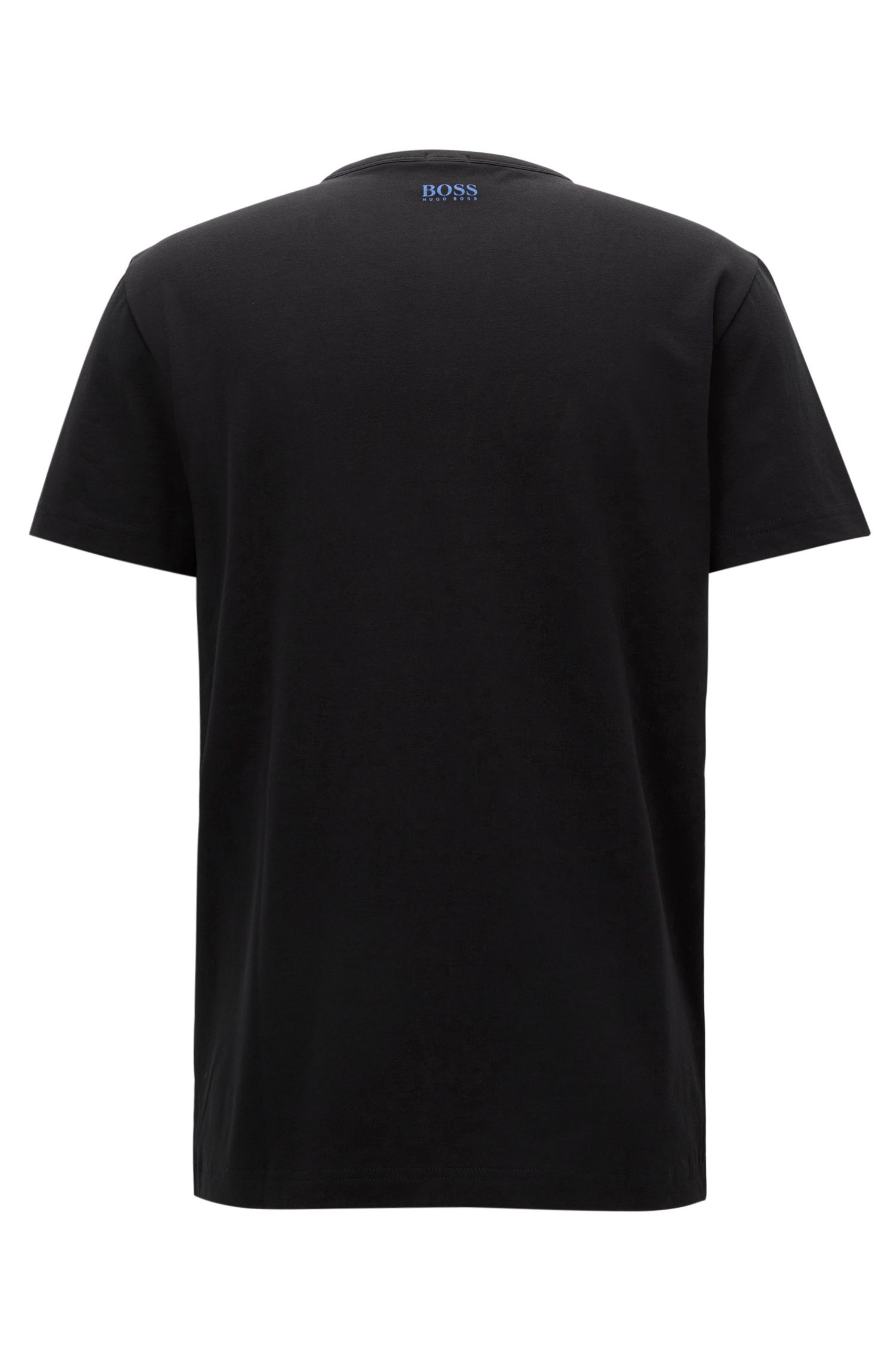 Stretch Cotton Embroidered T-Shirt | Tee, Black