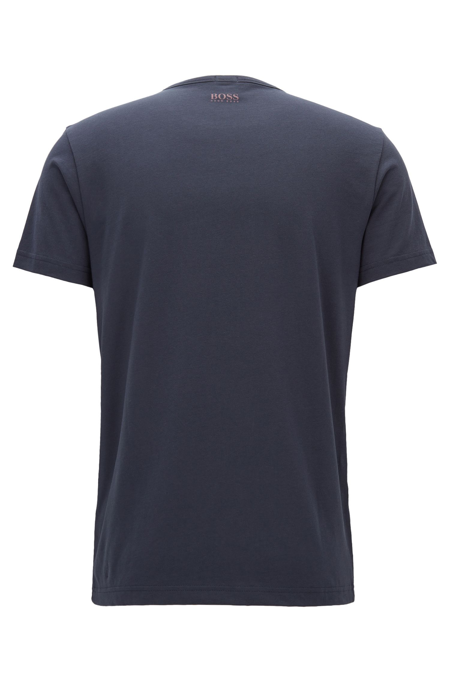 Stretch Cotton Embroidered T-Shirt | Tee, Dark Blue