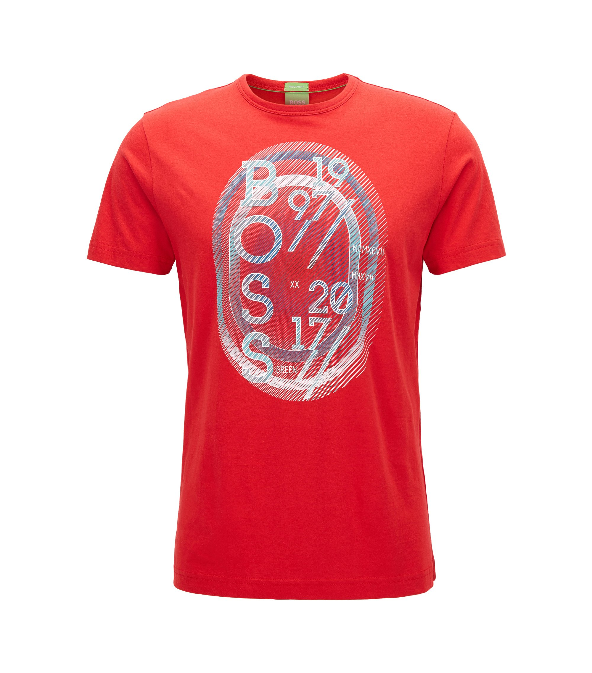 Stretch Cotton Graphic T-Shirt | Tee, Red