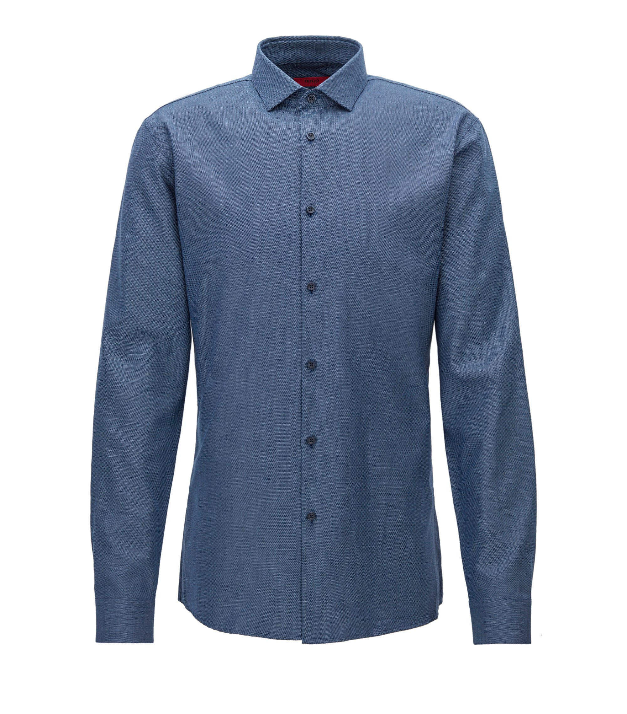 Patterned Cotton Dress Shirt, Slim Fit | Erondo, Dark Blue