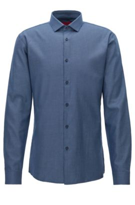 'Erondo' | Slim Fit, Patterned Cotton Dress Shirt, Dark Blue