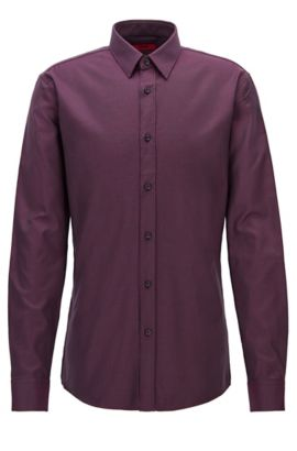 Zig Zag Cotton Button Down Shirt, Extra Slim Fit | Elisha, Dark Red