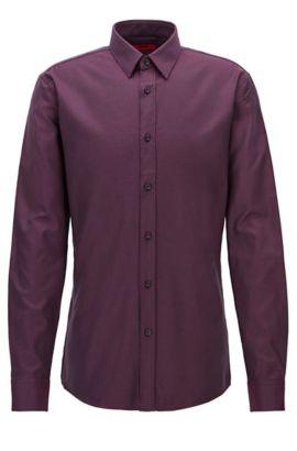 'Elisha' | Extra Slim Fit, Zig Zag Cotton Button Down Shirt, Dark Red