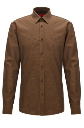 Patterned Cotton Button Down Shirt. Extra Slim Fit | Elisha, Brown