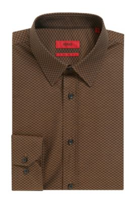 'Elisha' | Extra Slim Fit, Patterned Cotton Button Down Shirt, Brown
