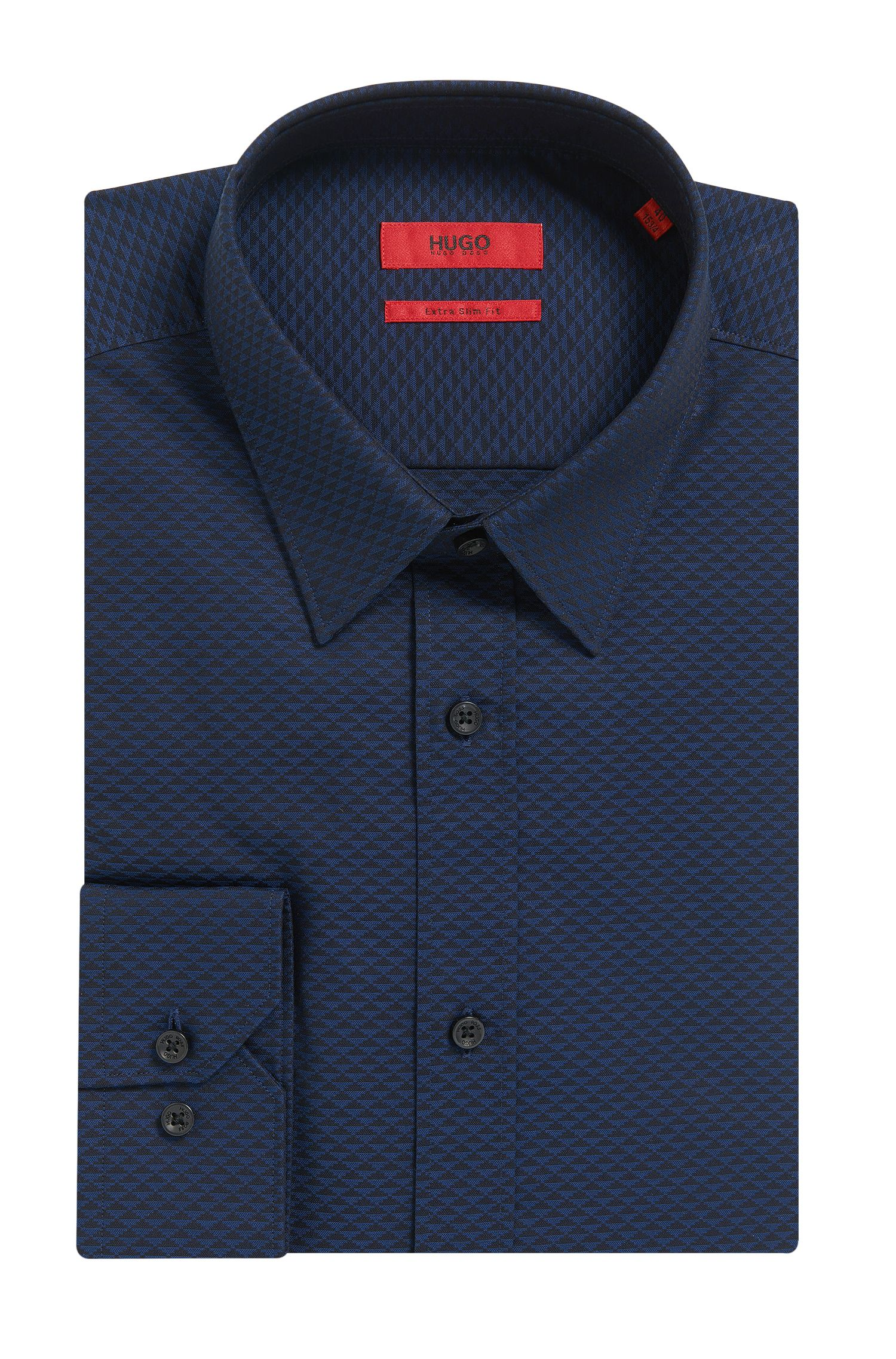 Patterned Cotton Button Down Shirt. Extra Slim Fit | Elisha, Dark Blue