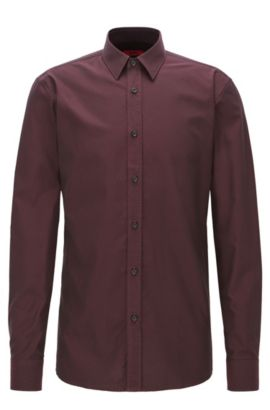 Patterned Cotton Button Down Shirt. Extra Slim Fit | Elisha, Dark Red