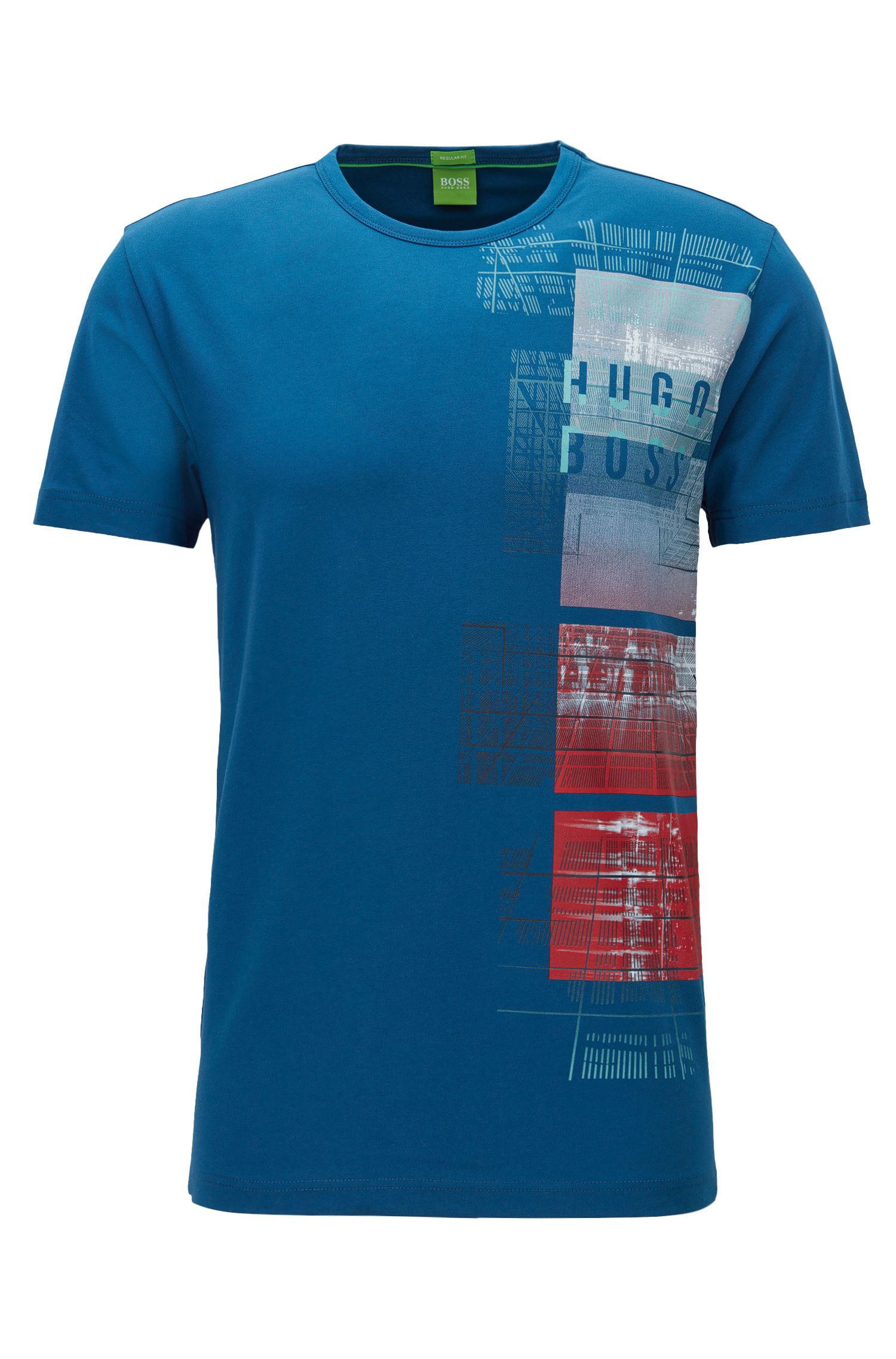 Stretch Cotton Graphic T-Shirt | Tee, Open Blue