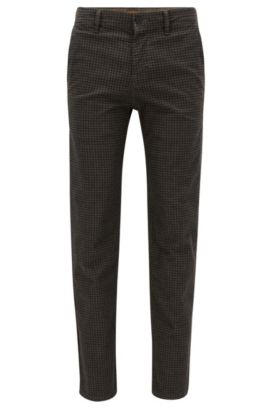 Tonal Check Stretch Cotton, Pant Tapered Fit | Stapered D, Beige