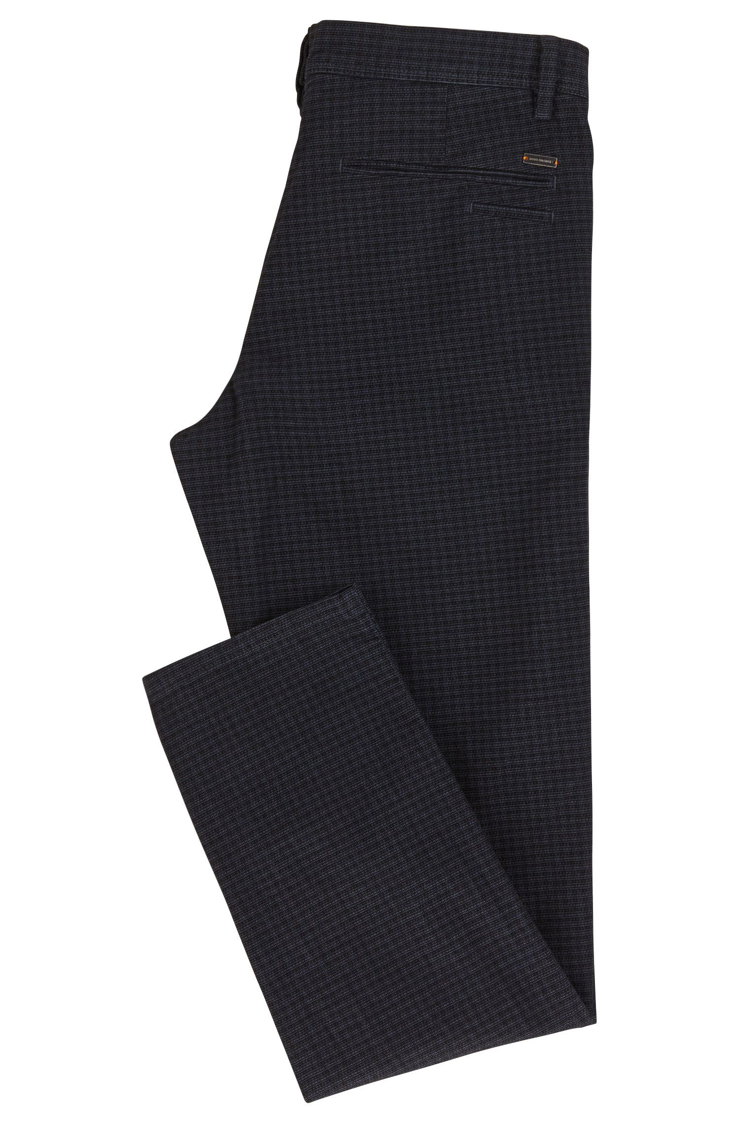 Tonal Check Stretch Cotton Pant, Tapered Fit | Stapered D
