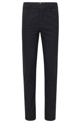 'Stapered D' | Tonal Check Stretch Cotton Pants, Dark Blue