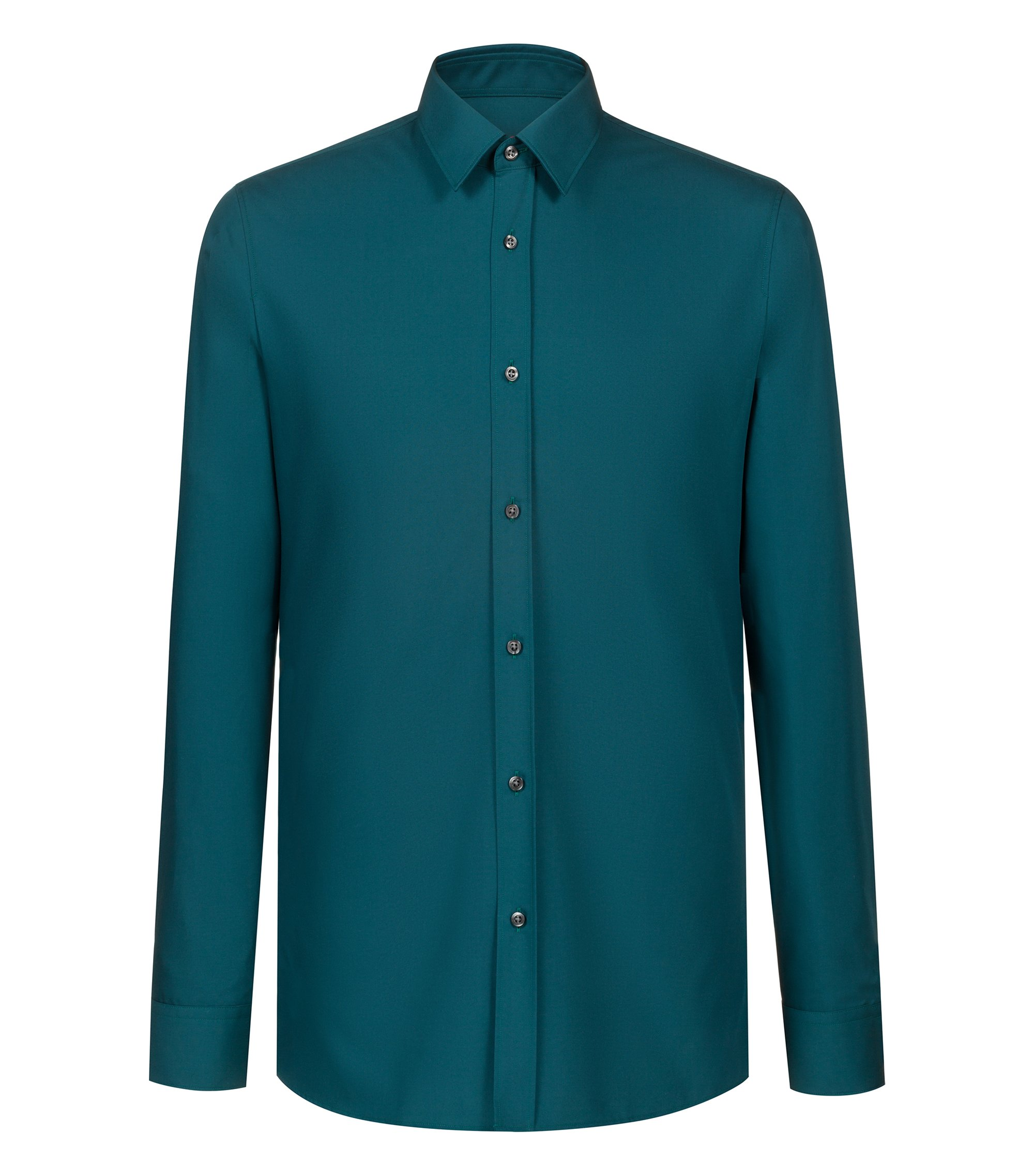 Extra-slim-fit shirt in cotton poplin, Green
