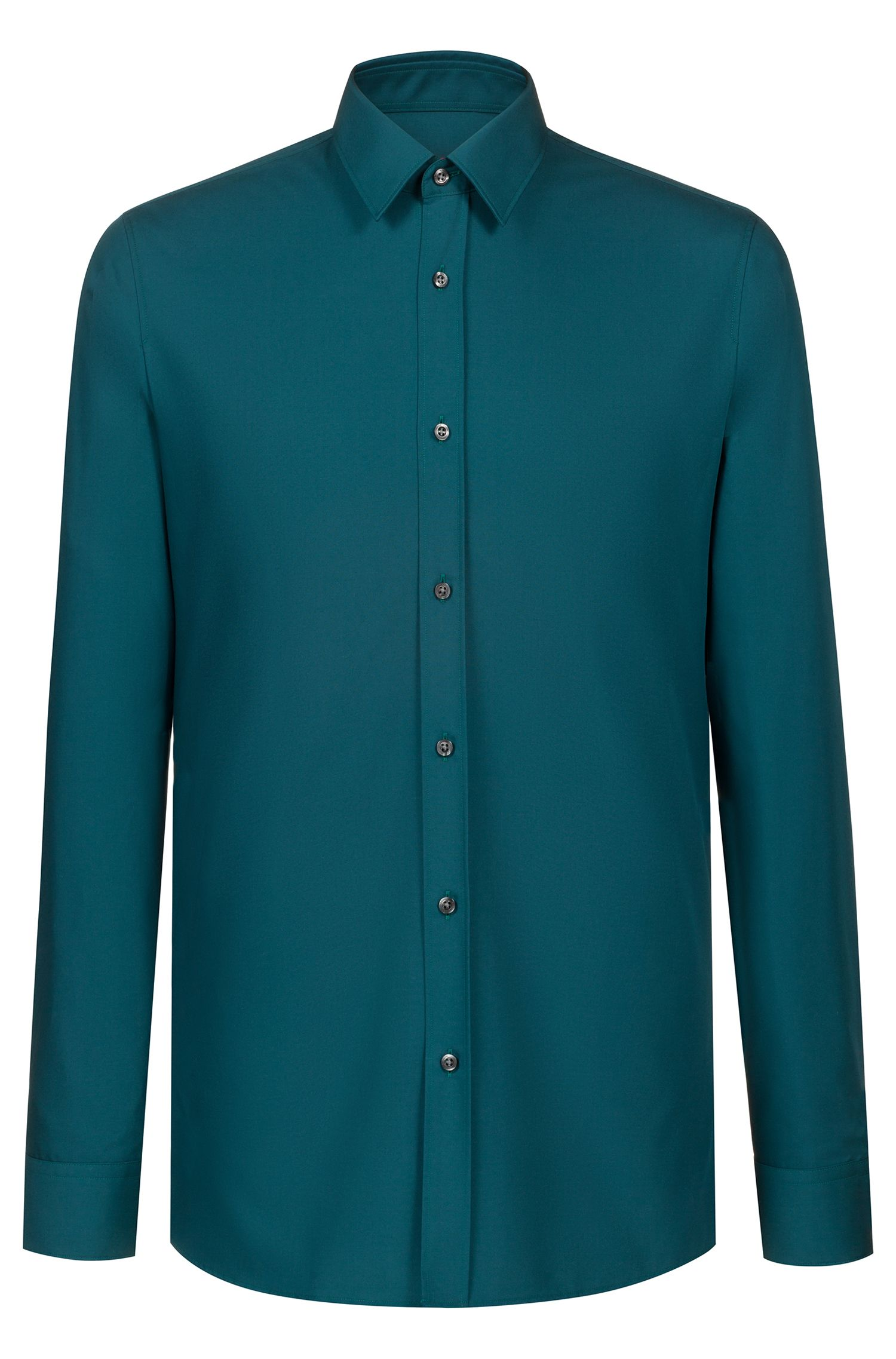Extra-slim-fit shirt in cotton poplin, Green