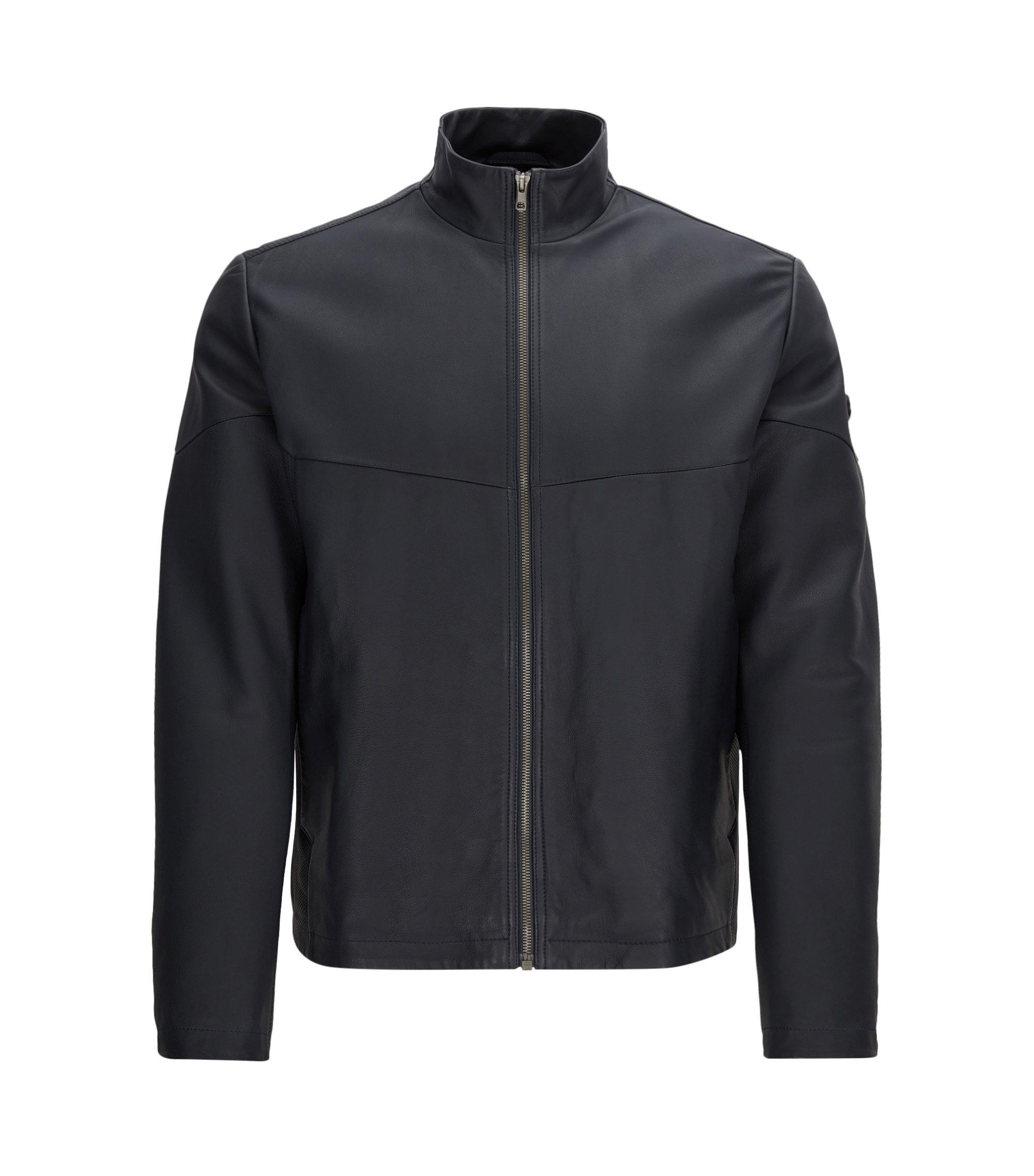 Lambskin Leather Jacket | Jayven, Dark Blue