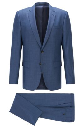Melange Italian Super 120 Virgin Wool Suit, Slim Fit | Huge/Genius, Blue