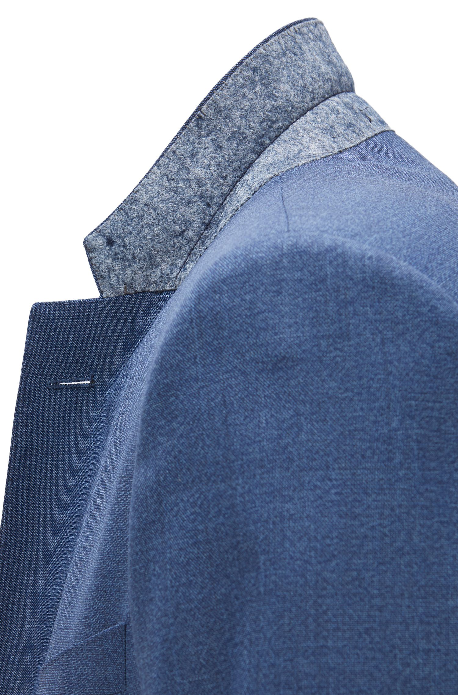 Melange Italian Super 120 Virgin Wool Suit, Slim Fit | Huge/Genius, Blue