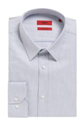 'Elisha' | Extra Slim Fit, Microdot Cotton Button Down Shirt, Dark Blue