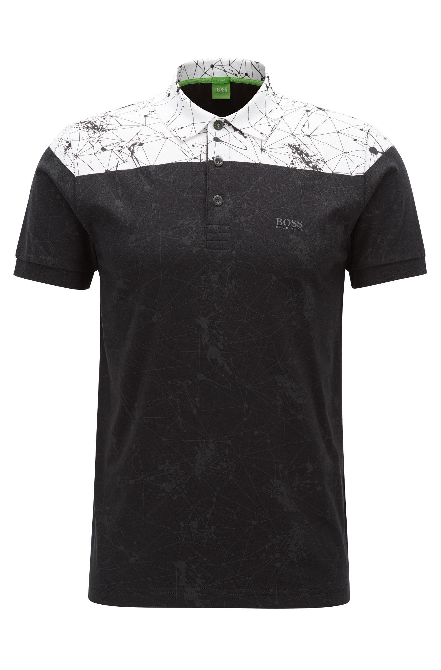Stretch Cotton Patterned Polo Shirt, Slim Fit   Paule