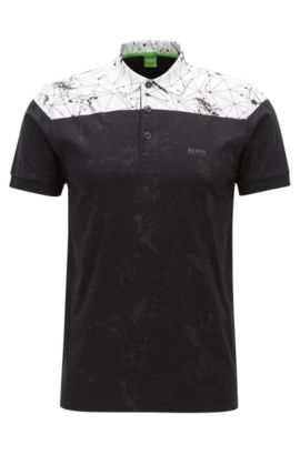 'Paule' | Slim Fit, Stretch Cotton Patterned Polo, Black