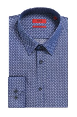Patterned Cotton Dress Shirt, Extra Slim Fit | Elisha, Dark Blue