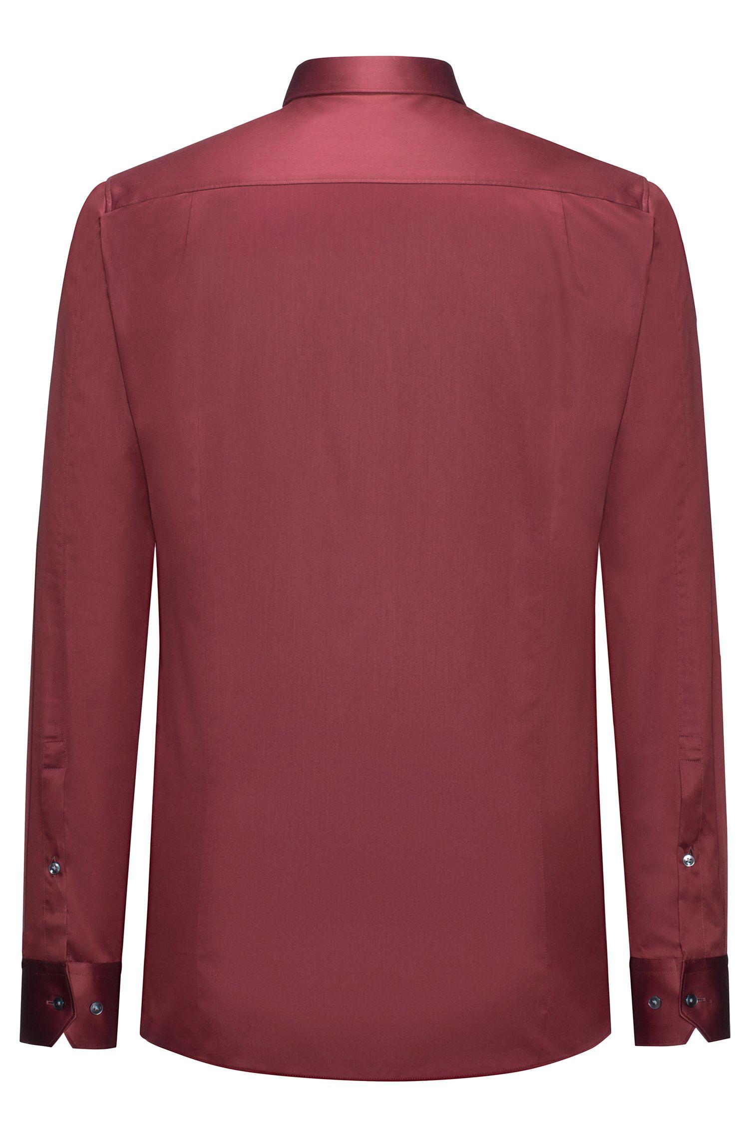 Two-Ply Cotton Dress Shirt, Extra Slim Fit | Elisha, Dark Red