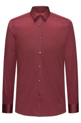 Two-Ply Cotton Dress Shirt, Extra Slim Fit   Elisha, Dark Red