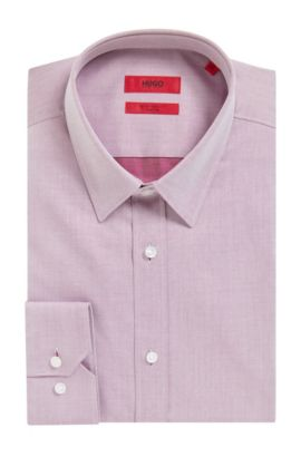 Two-Ply Cotton Dress Shirt, Extra Slim Fit | Elisha, Dark pink