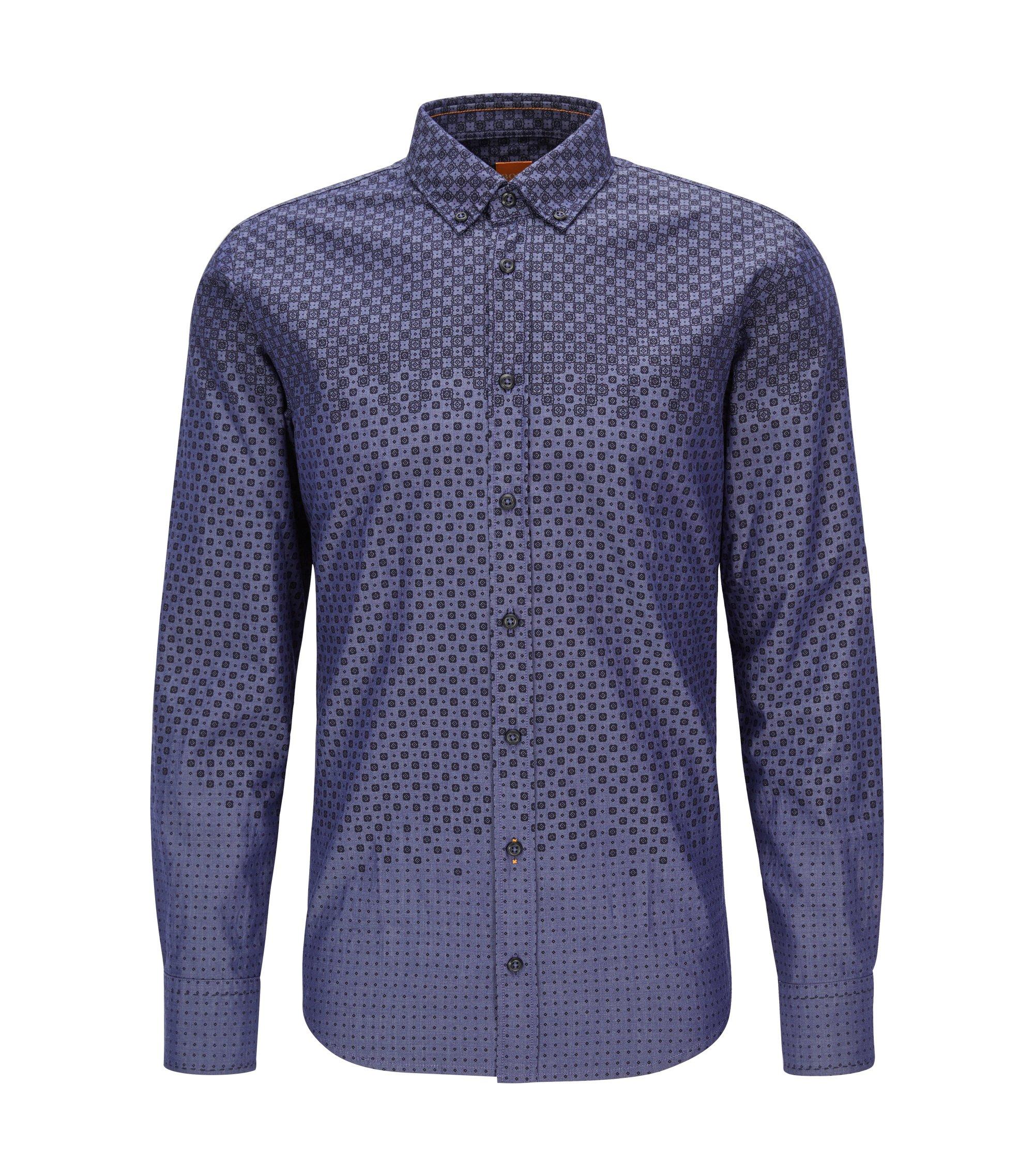 'Epreppy' | Slim Fit, Geometric Cotton Button Down Shirt, Dark Blue