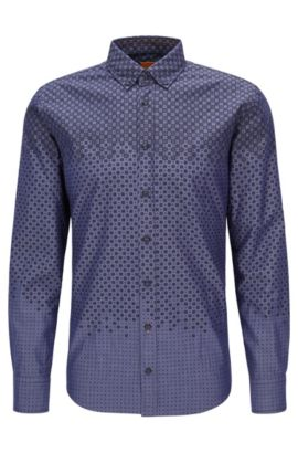 'Epreppy' | Slim Fit, Geometric Cotton Button Down Shirt, Dark Blue