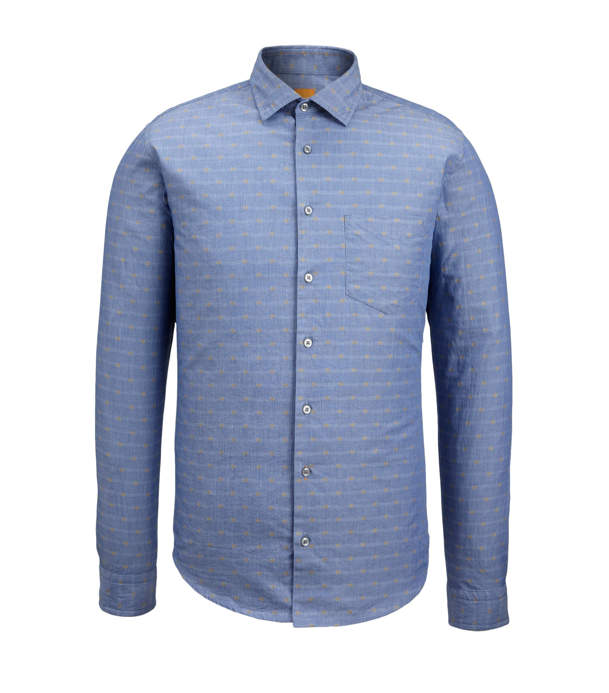 Fil Coupé Cotton Button Down Shirt, Slim Fit | Epop, Yellow