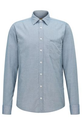 'Classy' | Regular Fit, Cotton Button Down Shirt, Dark Blue