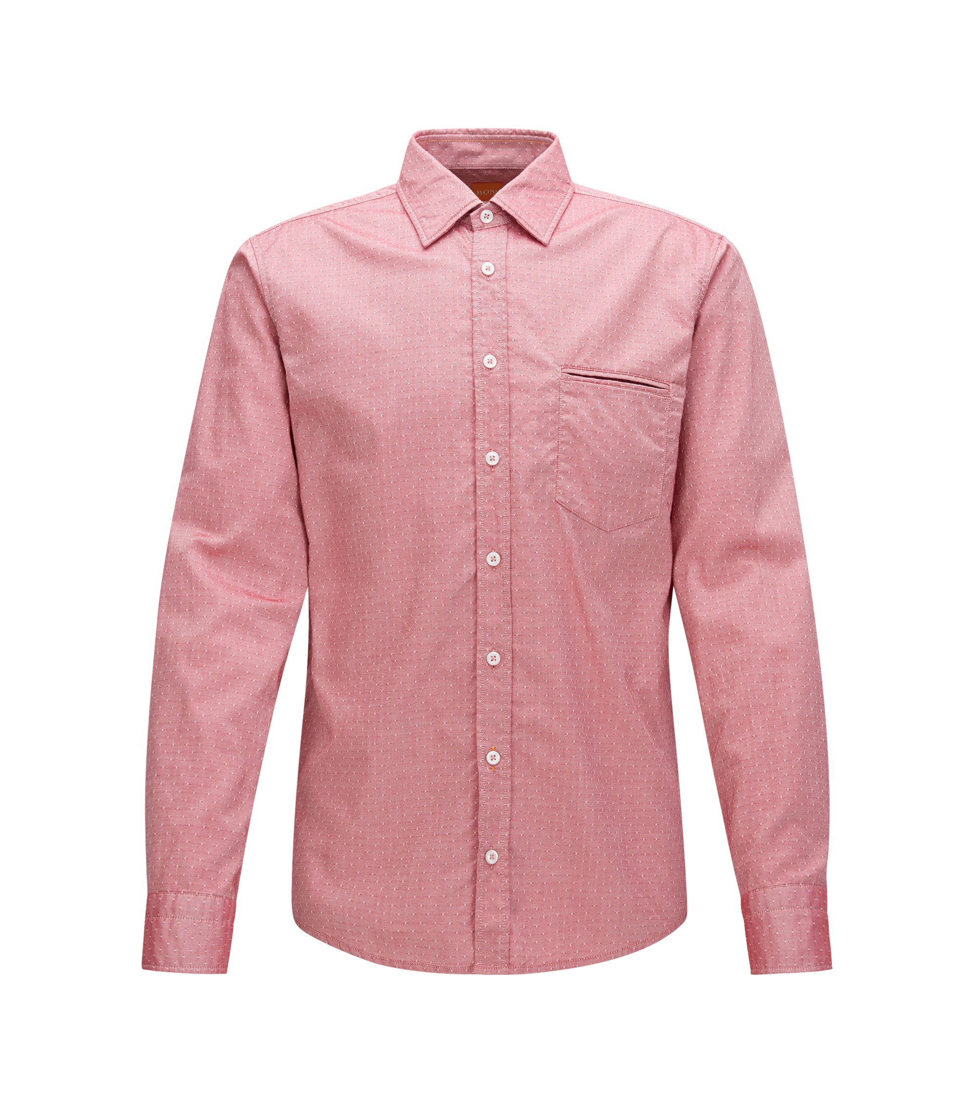 Cotton Button Down Shirt, Regular Fit | Classy, Red