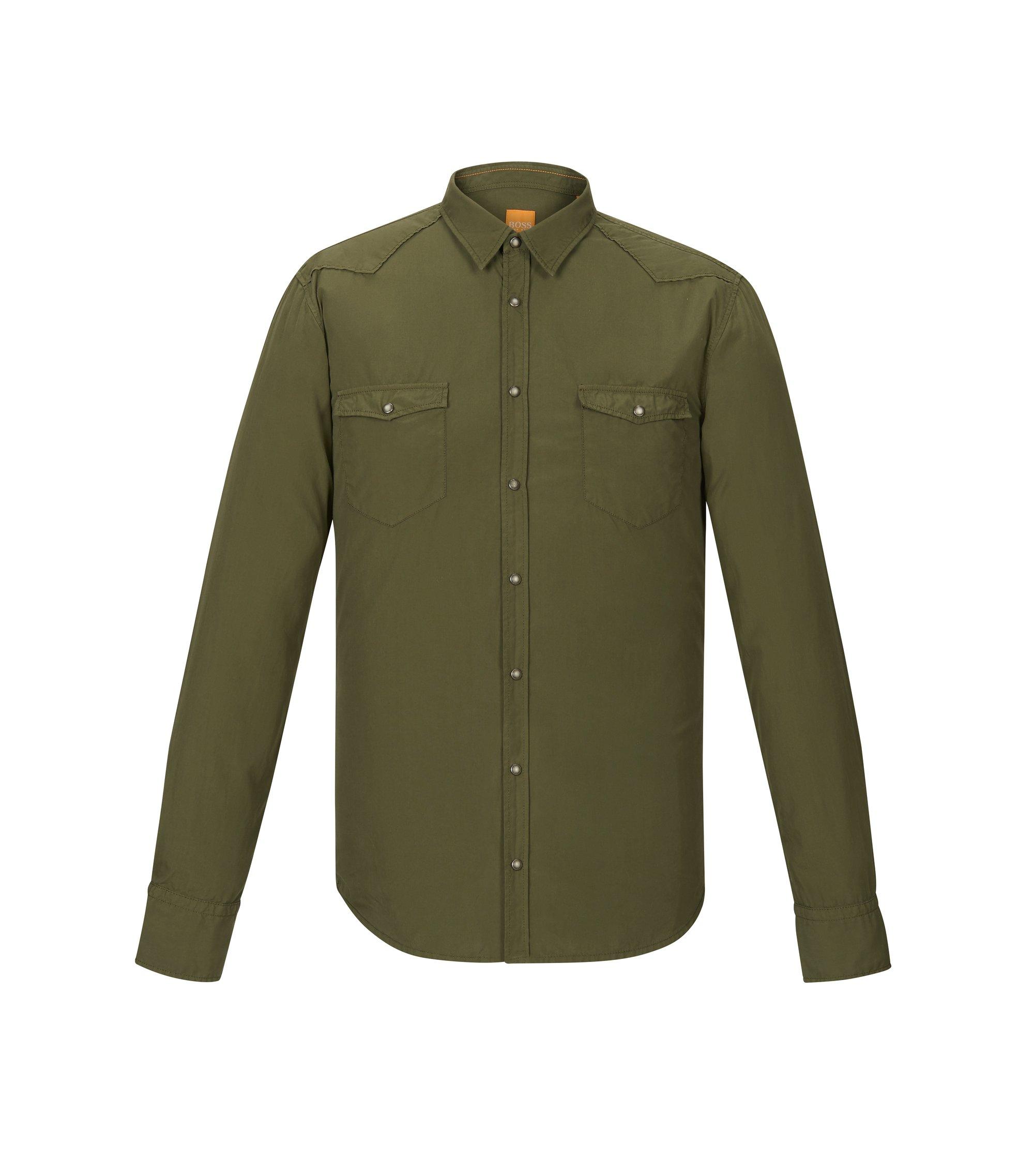 Cotton Poplin Button Down Shirt, Slim Fit | Erodeo Short, Dark Green
