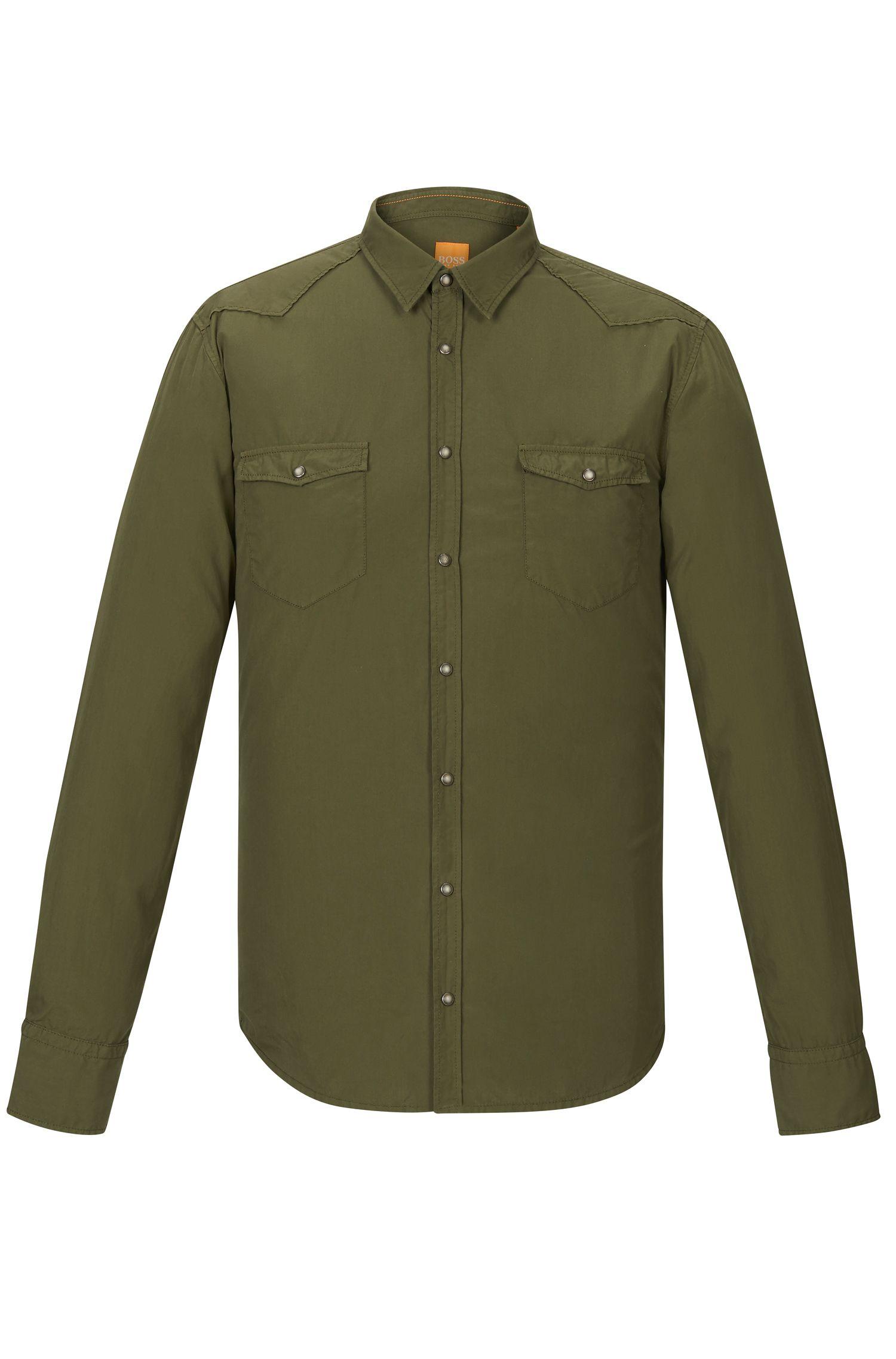 Cotton Poplin Button Down Shirt, Slim Fit | Erodeo