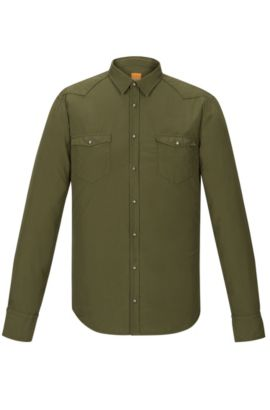 Cotton Poplin Button Down Shirt, Slim Fit | Erodeo Short, Dark Green