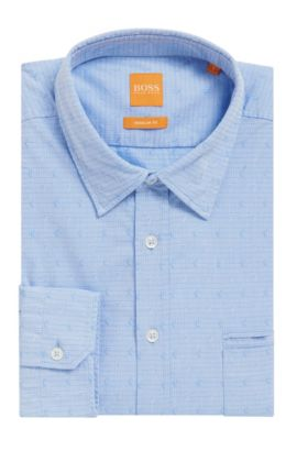 Paisley Cotton Button Down Shirt, Regular Fit | Classy, Open Blue