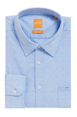 'Classy' | Regular Fit, Paisley Cotton Button Down Shirt, Open Blue