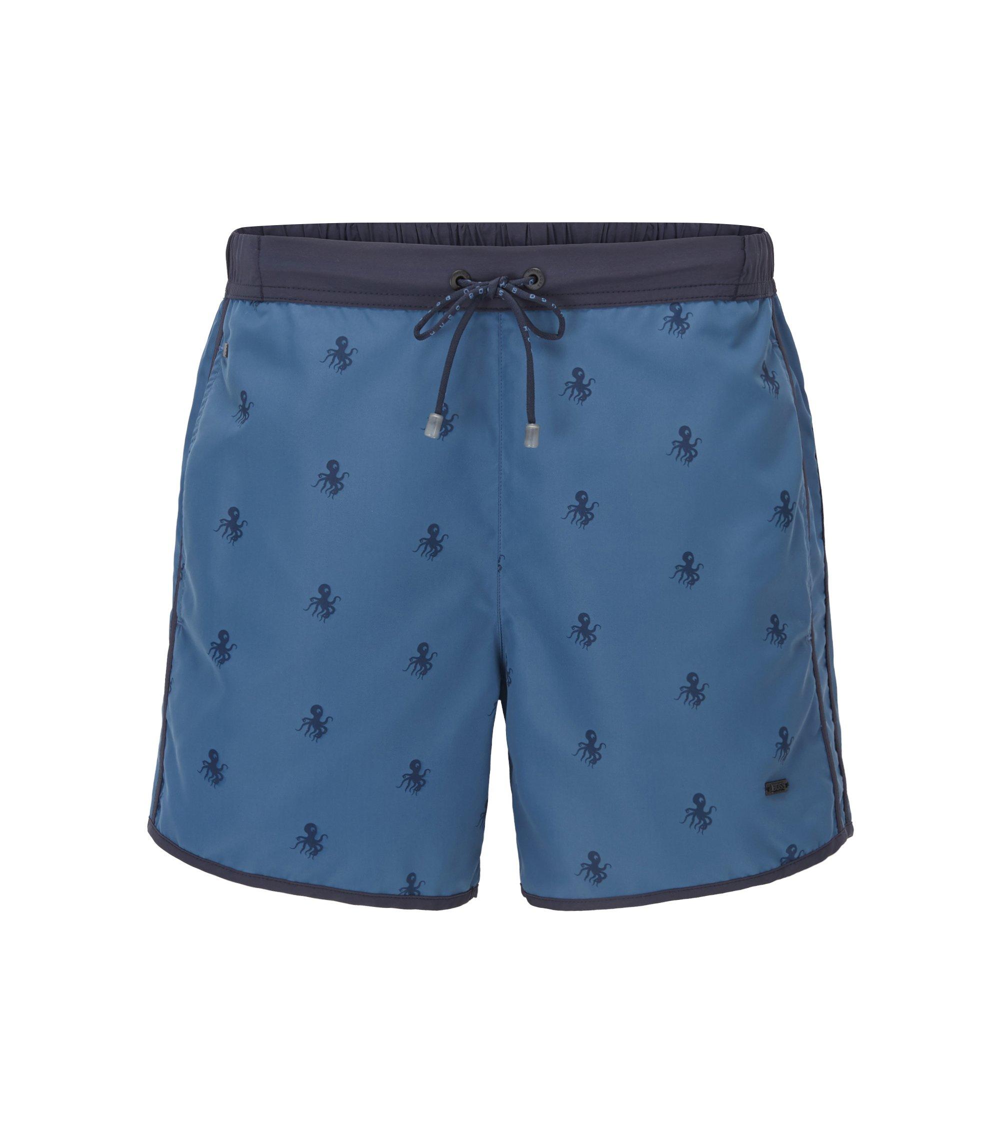 Quick Dry Nylon Embroidered Swim Short | White Shark, Open Blue