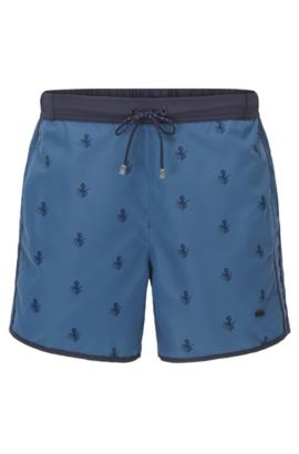 Quick Dry Nylon Embroidered Swim Shorts | White Shark, Open Blue