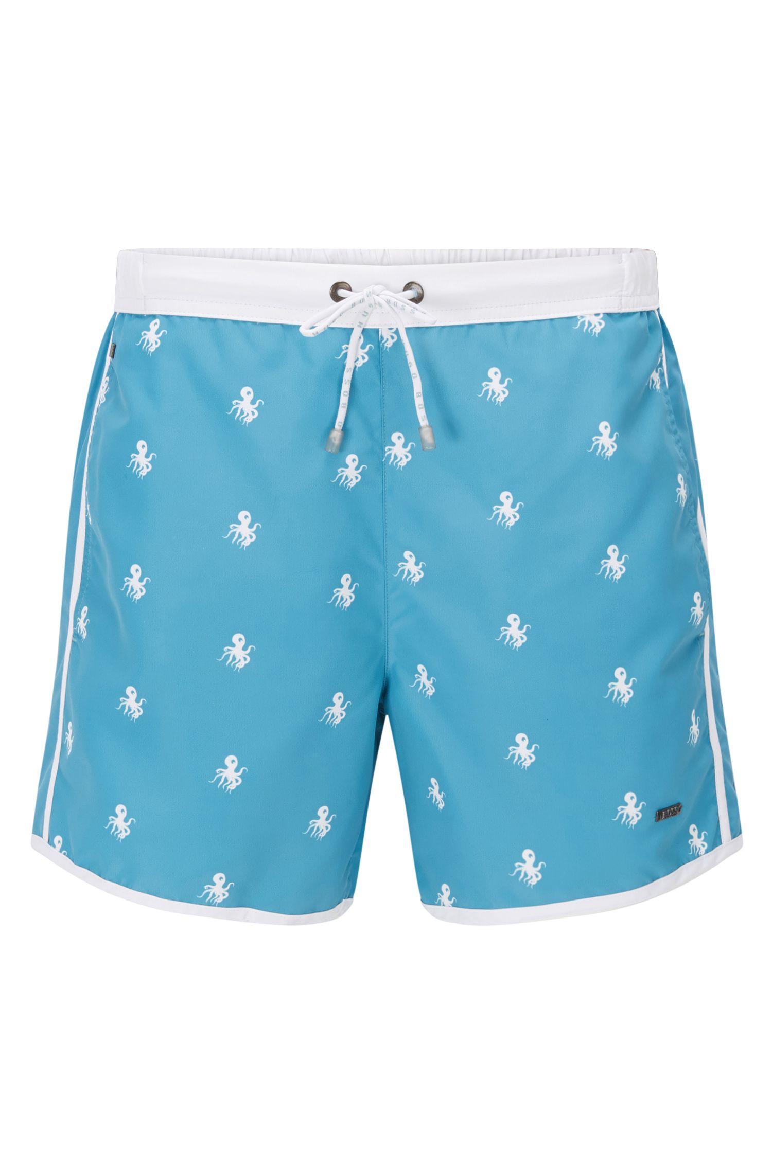 Quick Dry Nylon Embroidered Swim Shorts   White Shark