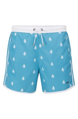 Quick Dry Nylon Embroidered Swim Short | White Shark, Open Blue
