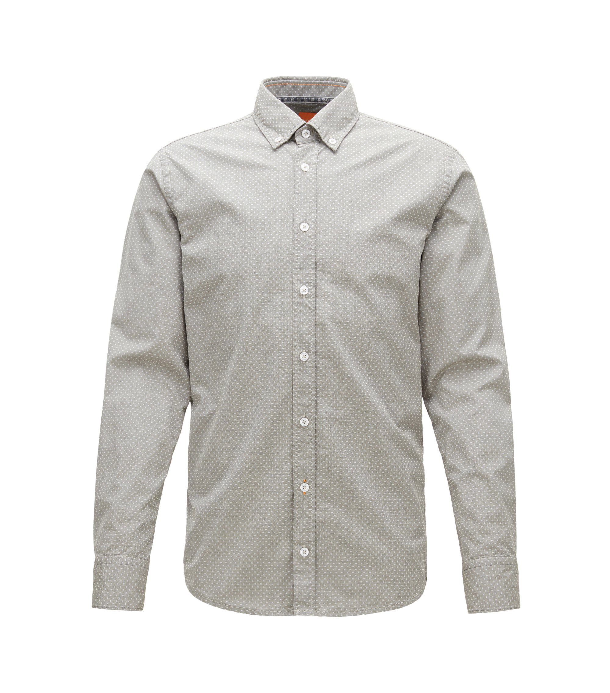 Polka Dot Cotton Button Down Shirt, Slim Fit | Epreppy, Dark Green