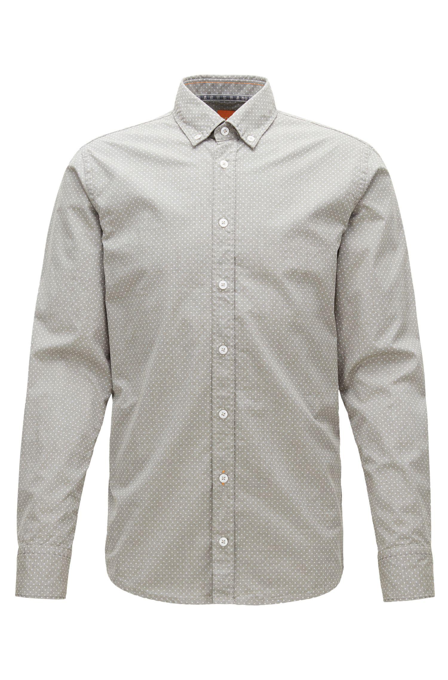 Polka Dot Cotton Button Down Shirt, Slim Fit | Epreppy