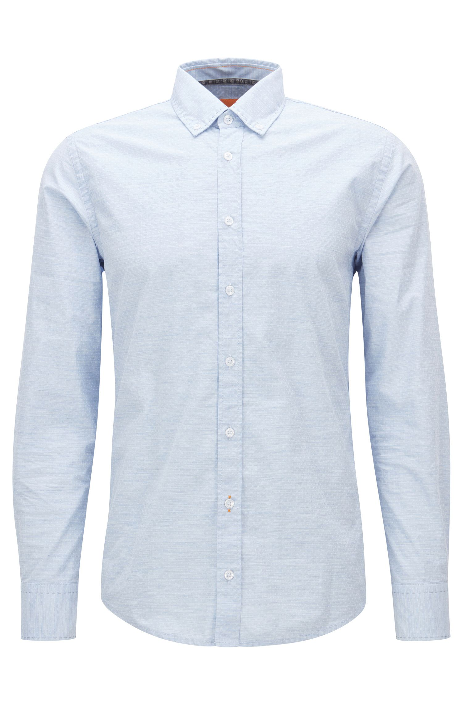 Polka Dot Cotton Button Down Shirt, Slim Fit   Epreppy