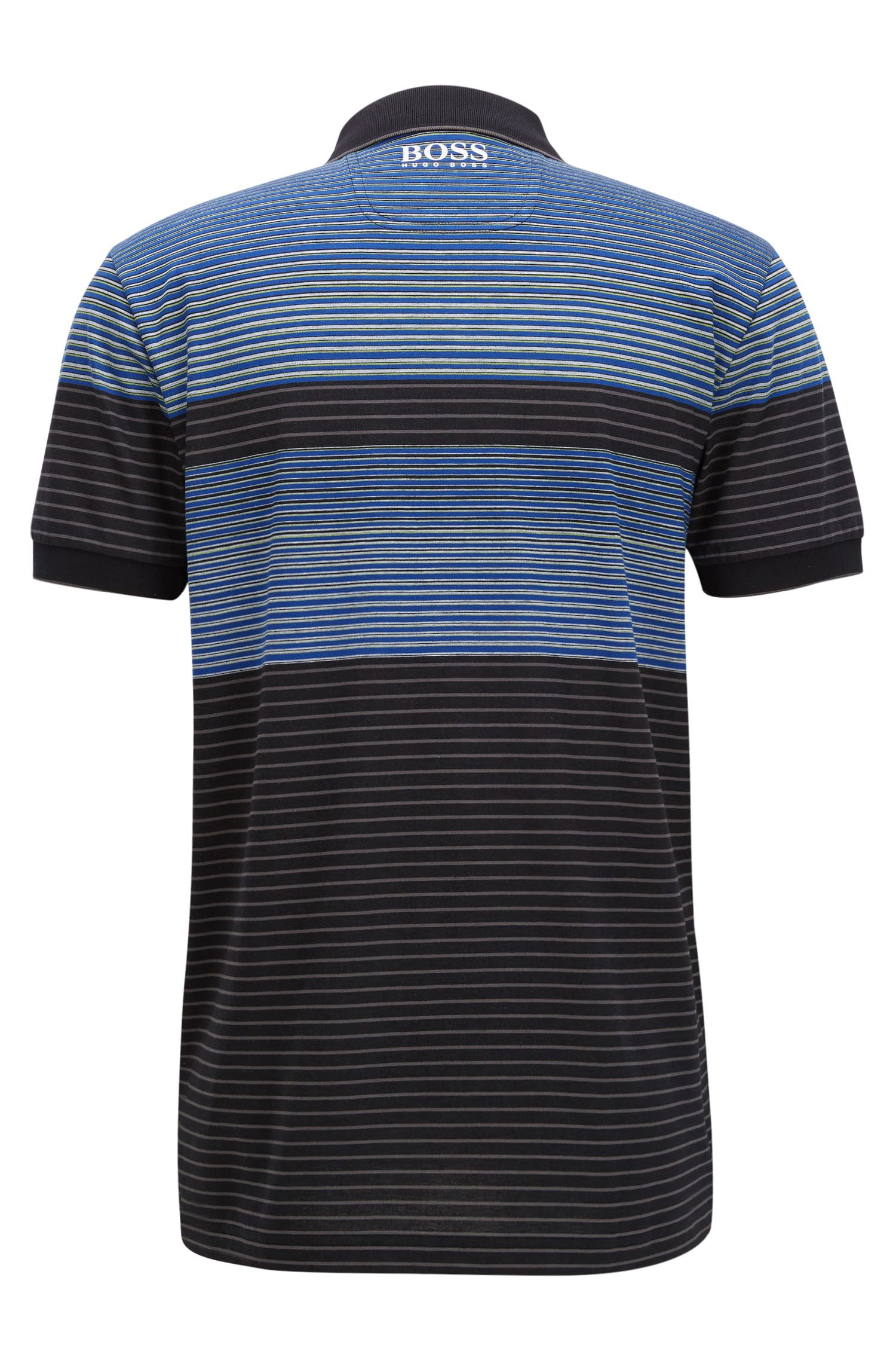 Striped Stretch Cotton Polo Shirt, Regular Fit | Paddy Pro, Black